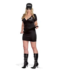 Dream Girl Women's Plus Size S.W.A.T. Police Woman Black Costume