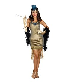Dream Girl Women's Golden Girl Flapper Dress