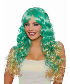 Dream Girl Long Wavy Ombré Green/Honey Wig with Halo Braids