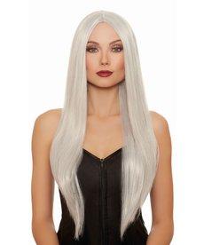 Dream Girl Extra-Long Straight Gray/White Wig