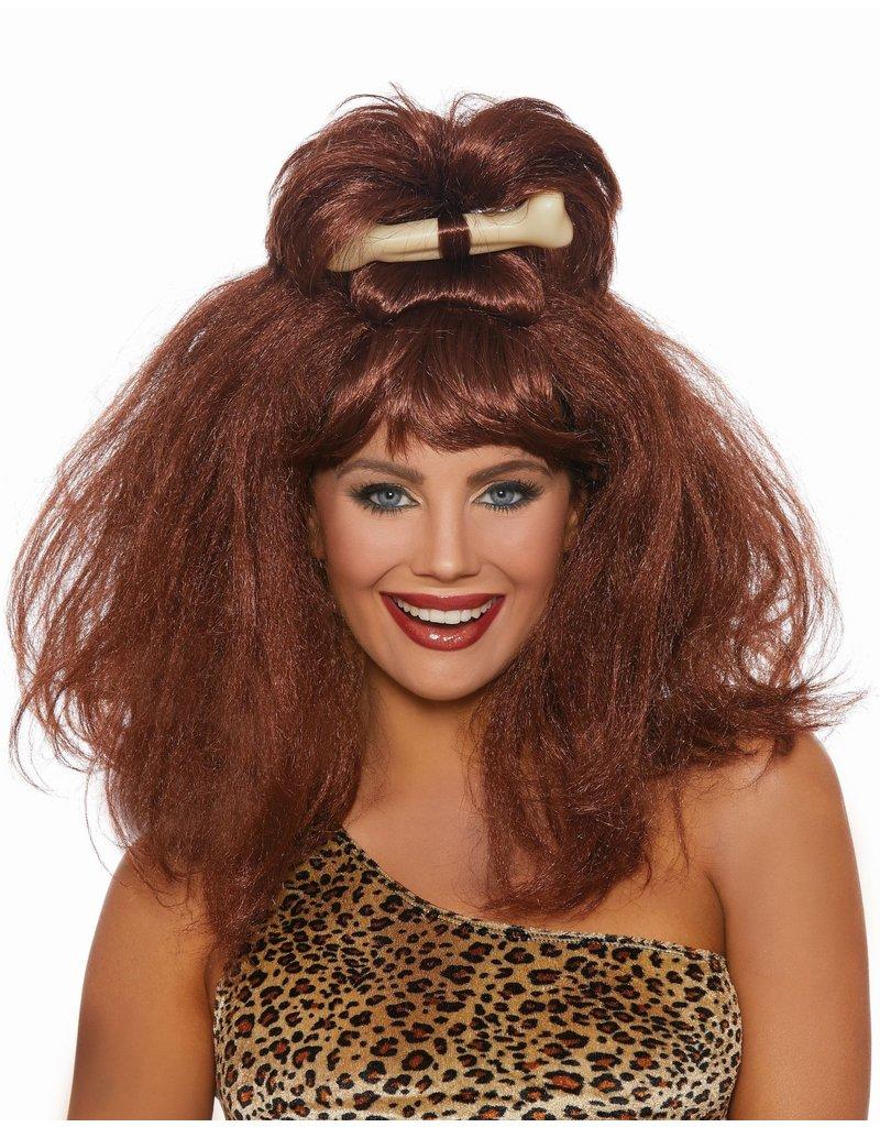 Dream Girl Cave Girl Wig w/ Bone: Auburn