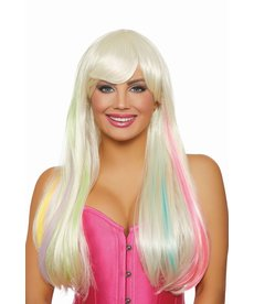 "Dream Girl Long Straight ""Hidden Rainbow"" Platinum/Rainbow Wig"