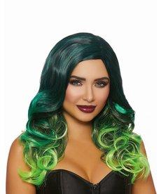 Dream Girl Long Wavy Layered Black/Teal/NeonGreen Wig