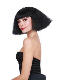 Dream Girl Crimped Wedge Bob Black Wig