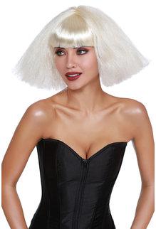 Dream Girl Crimped Wedge Bob Wig: Platinum Blonde