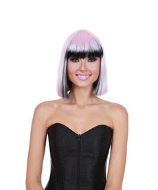 Dream Girl Two Tone Mid Length Bob Pink/Black Wig