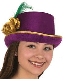 DLX. Mardi Gras Top Hat w/ Rose