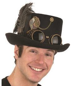 DLX. Felt Steampunk Hat w/ Goggles: Black