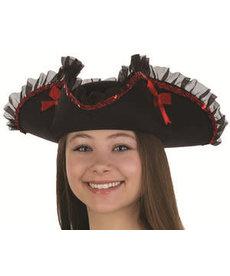 Tricorne Pirate Hat w/ Sequin & Ruffled Trim