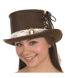 Steampunk Hat: Brown w/ White Lace