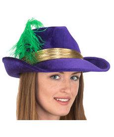 Mardi Gras Velvet Fedora w/ Feather