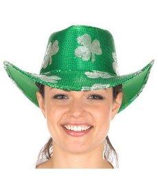 St. Pats Sequin Cowboy Hat w/ Silver Shamrocks