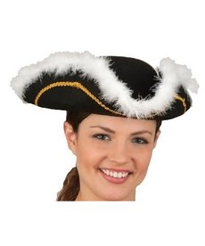 Felt Tricorne Pirate Hat w/ Boa Trim