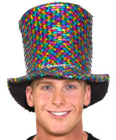 Rainbow Sequin Top Hat