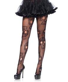 Leg Avenue Plus Size: Sugar Skull Tights - Black (1X/2X)