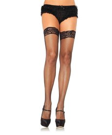 Leg Avenue Plus Size: Stay Up Fishnet Thigh Highs - Black