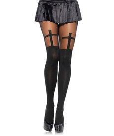 Leg Avenue Opaque Cross Pantyhose - Black