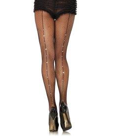 Leg Avenue RhineStone Back Seam Fishnet Pantyhose - Black