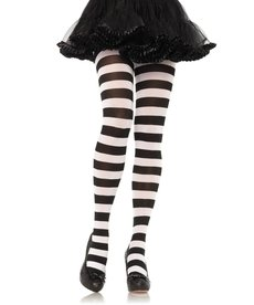 Leg Avenue Wide Stripe Opaque Tights - Black/White