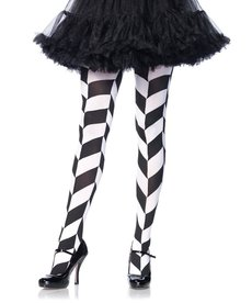 Leg Avenue Chevron Illusion Tights - Black/White