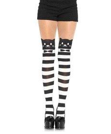 Leg Avenue Spandex Fancy Cat Striped Pantyhose - Black/White