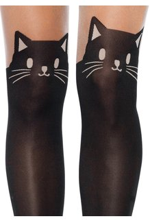 Leg Avenue Black Cat Pantyhose - Black/Nude