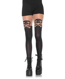 Leg Avenue Skull & Crossbone Pantyhose - Black