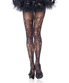 Leg Avenue Floral Vine Net Pantyhose - Black