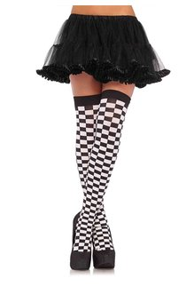 Leg Avenue Checkered Thigh Highs - Black/White