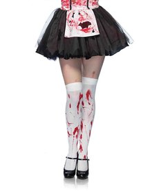 Leg Avenue Bloody Zombie Thigh Highs - White/Red