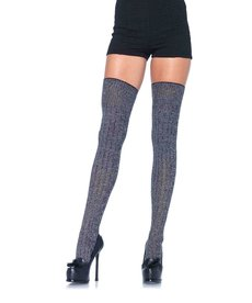 Leg Avenue Rib Knit Thigh Highs - Grey