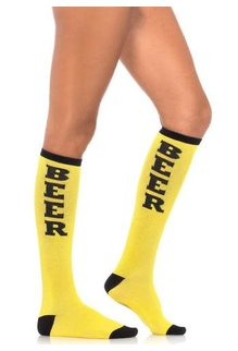Leg Avenue Beer Time Socks - Yellow/Black