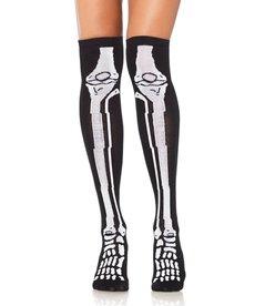 Leg Avenue Skeleton Over The Knee Socks - Black/White