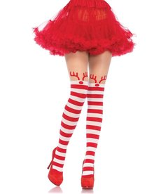 Leg Avenue Rudolph Striped Christmas Tights - Red/White