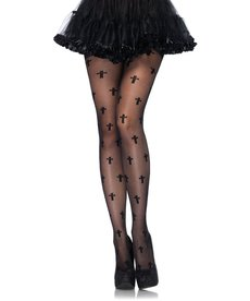 Leg Avenue Cross Pantyhose - Black