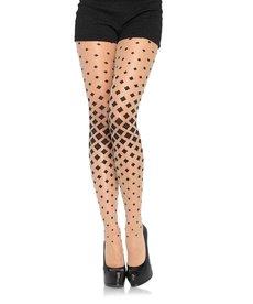 Leg Avenue Diamond Illusion Pantyhose - Nude/Black