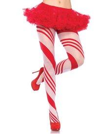 Leg Avenue Candy Striped Christmas Pantyhose - Red/White