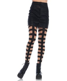 Leg Avenue Caged In Tights - Black/Nude
