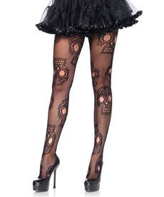 Leg Avenue Sugar Skull Net Pantyhose - Black