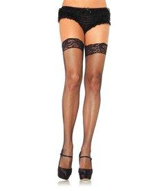 Leg Avenue Stay Up Fishnet Thigh Highs - Black