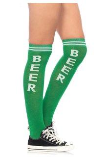 Leg Avenue Beer Time Socks - Green/White