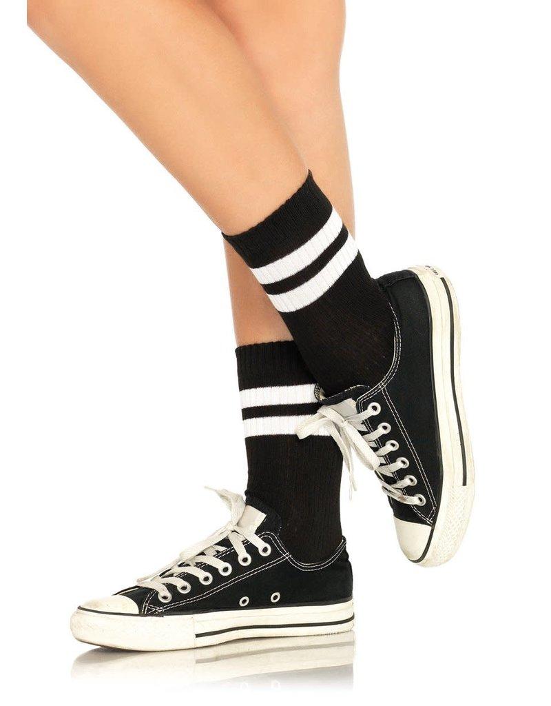 Leg Avenue Athletic Striped Anklets - Black/White