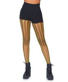 Leg Avenue Adult Rasta Striped Fishnet Tights