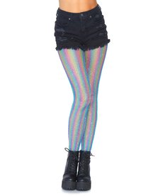 Leg Avenue Adult Rainbow Shimmer Striped Fishnet Tights