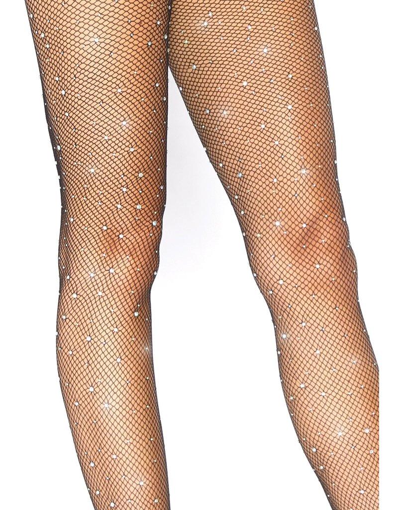 Leg Avenue Crystallized Fishnet Tights - Black