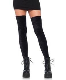 Leg Avenue Velvet Thigh Highs - Black