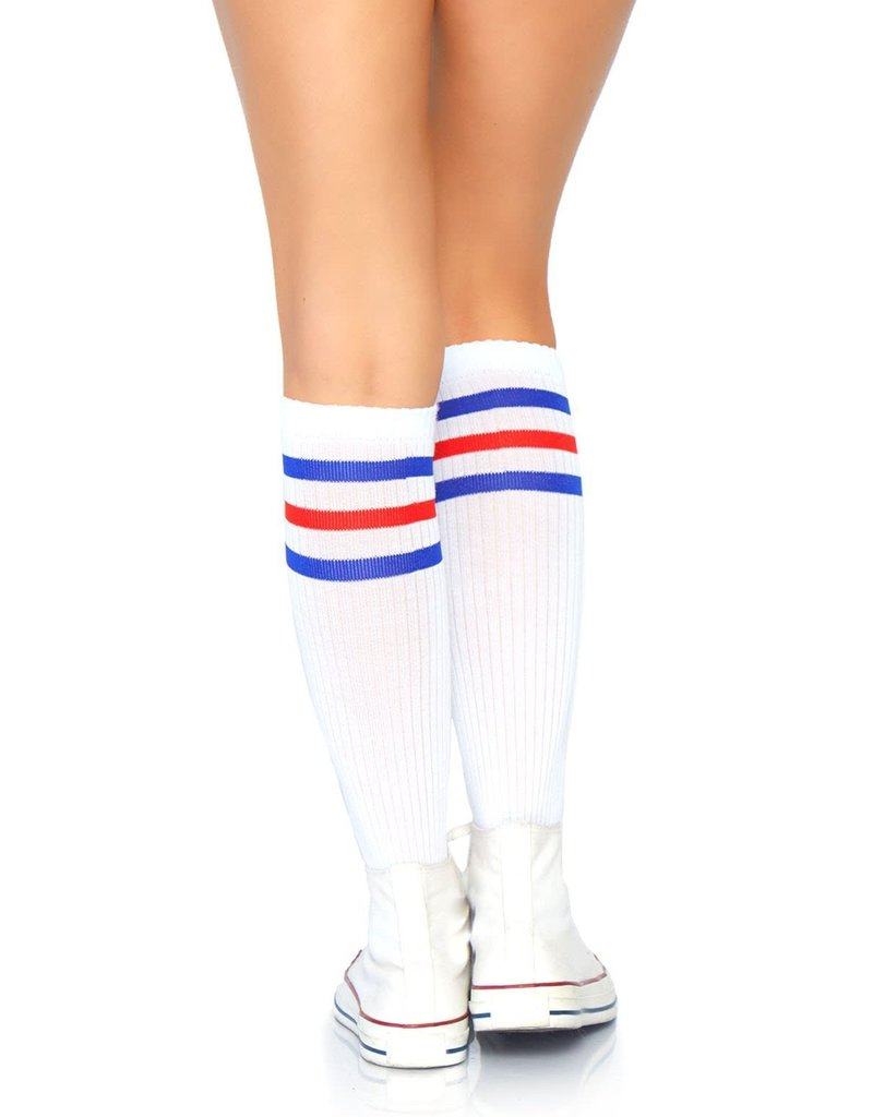 Leg Avenue Athletic Striped Knee Highs - White/Red/Blue