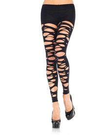 Leg Avenue Tattered Footless Tights - Black