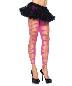 Leg Avenue Footless Shredded Tights - Neon Pink