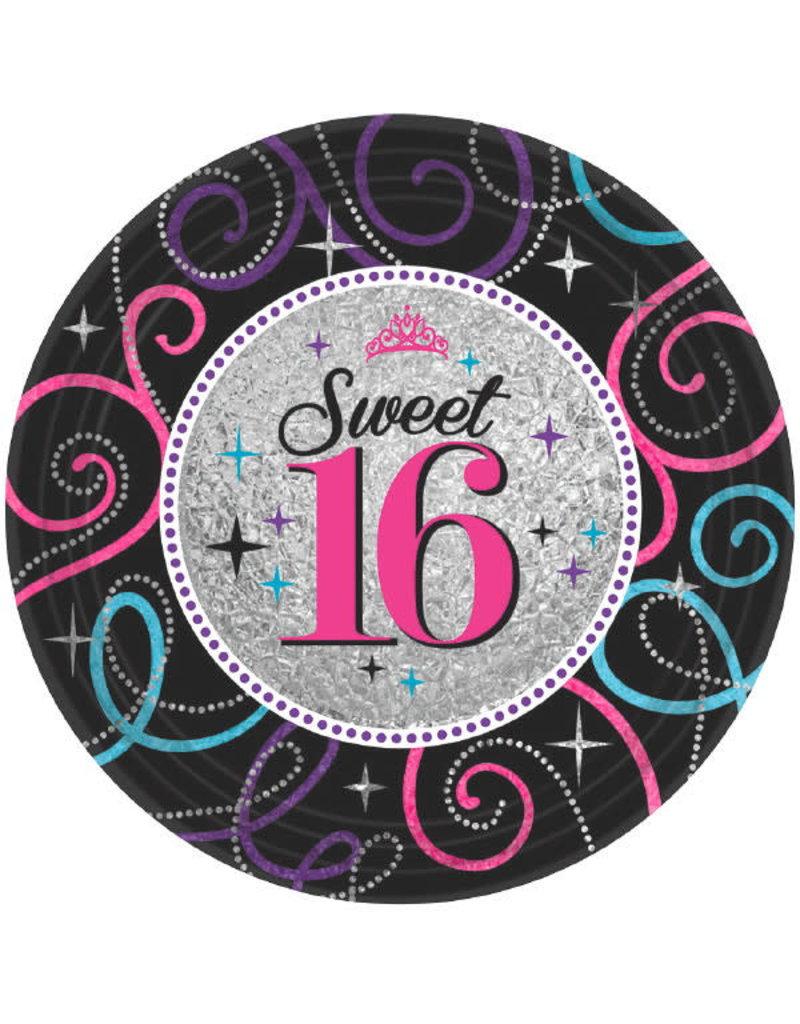 "7"" Plates - Sweet 16 (8ct.)"